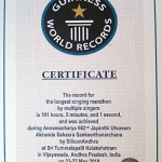 The record for the longest singing marathon by multiple singers in 101 hours, 5 minutes and 1 second, and was achieved during Anamaacharya 602nd Jayanthi Utsavam Akahnada Sahasra Sankeerthanarchana  at Sri Tummalapalli Kalakshetram, Vijayawada from 23rd to 27th May, 2010