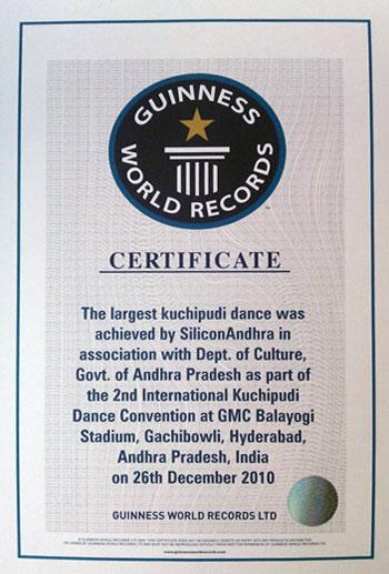 The Largest Kuchipudi Dance, 2nd International Kuchipudi Dance Convention  at G.M.C Balayogi Stadium, GachiBowli, Hyderabad, on 26 December, 2010