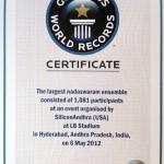 The Largest Nadaswaram ensemble consisted of 1081 participants, Mangalavadya Sammelanam  at L.B.Stadium, Hyderabad, on 6 May, 2012